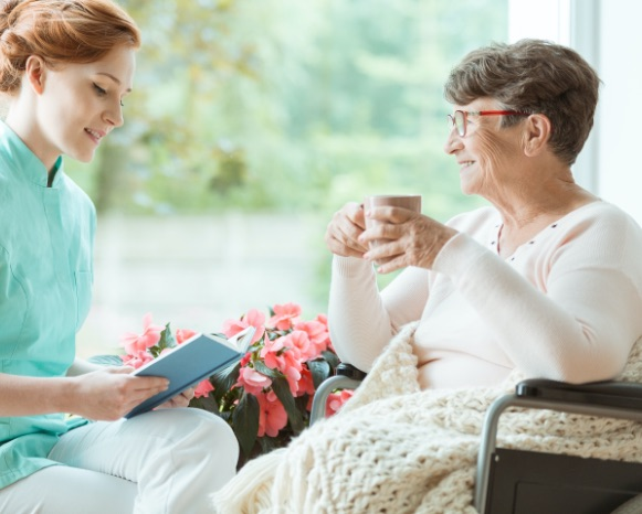 in home caregiver with client