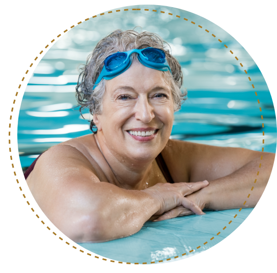 woman in pool wearing goggles